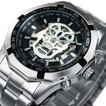Winnaar Punk Automatische Mannen Luxury Brand Skeleton Mechanische Horloge Roestvrij Stalen Band Hip Hop Skull Polshorloge Relogio