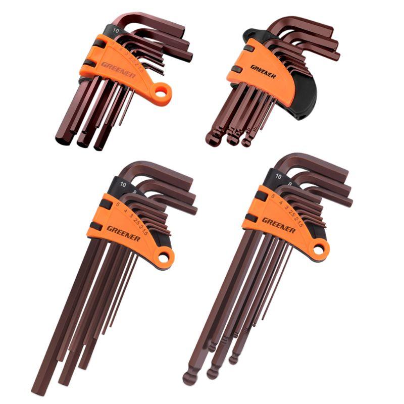 9pcs 1.5-10mm Hexagon Allen Key Wrench Tools Spanner Screwdriver Set Flat Ball