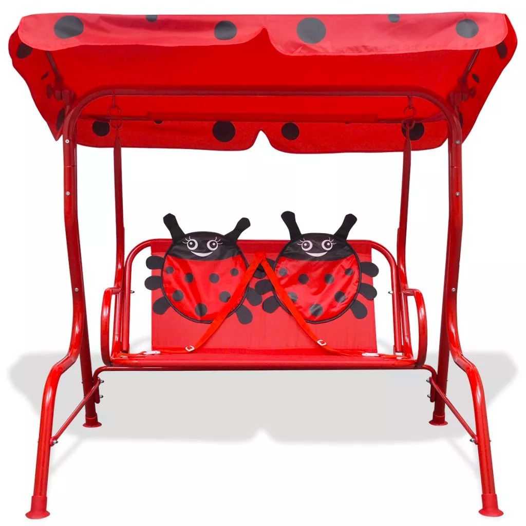 VidaXL Kids Swing Seat With A Sunshade Canopy 100% Polyester Red 115 X 75 X 110 Cm (L X W X H) Perfect For Children