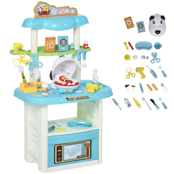 HOMCOM medical center dentist 43 pieces educational Doctor role-playing game for children + 3 years with tools 50x32x86 cm Blue educational game natural wood 1 5 x 18 x 41 cm 104 pieces