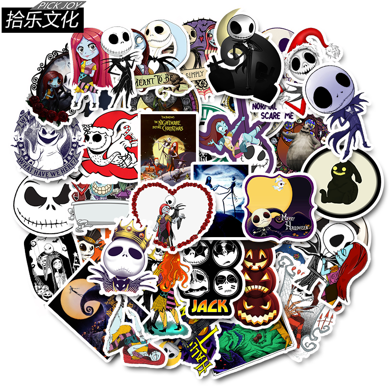 The Nightmare Before Christmas Jack Stickers Halloween Mischief Decor Bedroom Wall Graffiti Sticker Motorcycle Luggage Sticker