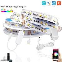 TUYA Smart Life-minicontrolador RGBCW, 1-5M, DC12V, 5050 RGB + CCT, 90LED/m, tira de luces LED + Kit de alimentación para Alexa y Google Home