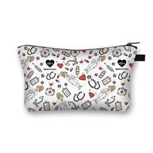 Storage-Handbags Makeup-Bag Printing Travel Nurse-Ecg Hot-Sale Portable Casual Women