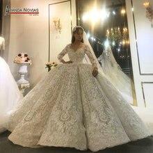 Amanda Novias ออกแบบจริงงานแต่งงาน 2020 ดูไบหรูหราชุดเจ้าสาวงานแต่งงานชุด 100% จริงทำงานรูปภาพ