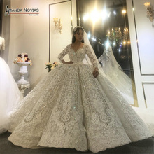 Amanda Novias design real work wedding dress 2020 dubai luxury bridal dress wedding gown 100% real work photos
