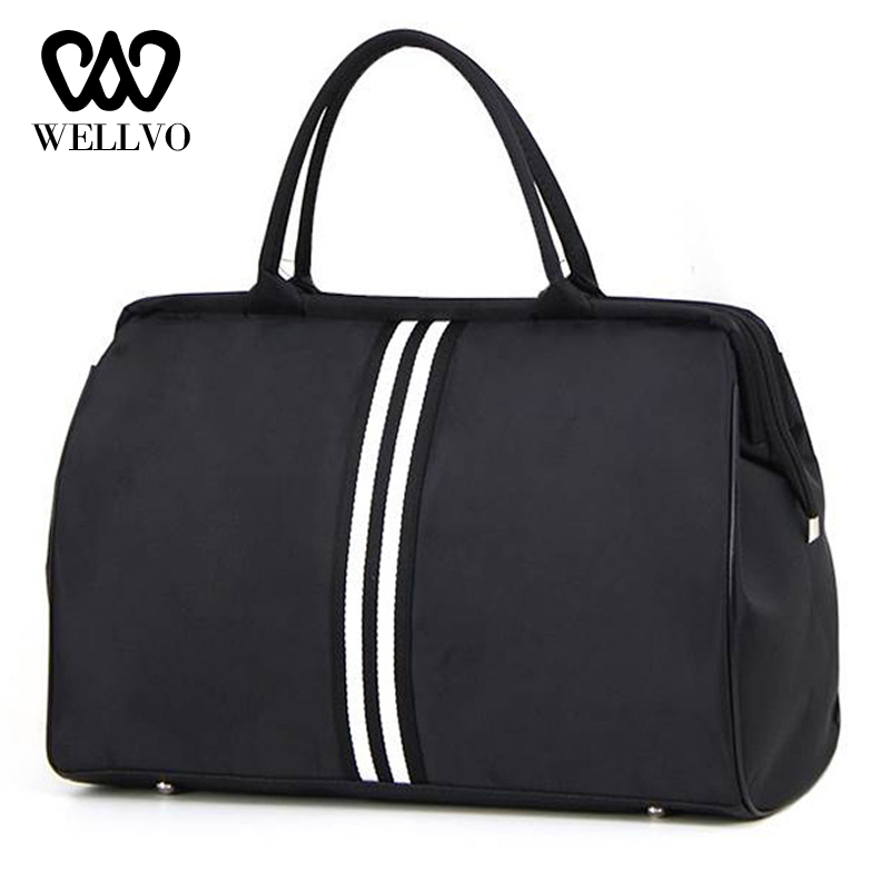 Women Overnight Weekend Traveling Bag Ladies Stripe Handbag Big Travel Bag Light Fitness Men Foldable Duffle Bags Korean XA637WB