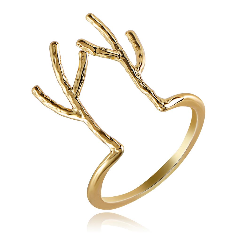 HF JEL Cute Minimalist Opening Copper Animal Elk Antlers Rings Gold Color Elk Wedding Rings for Women Christmas Gift Jewelry