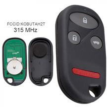315MHz 3 Buttons Keyless Uncut Flip Remote Key For-Fob  KOBUTAH2T for 1998 1999 2000 2001 2002 Honda Accord
