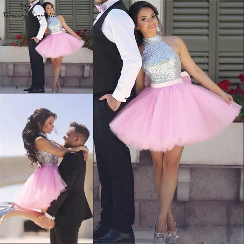 Pink   Cocktail     Dresses   Short 2019 Silver Sequins High Neck Big Bow Above Knee A-Line Mini Prom   Dresses   Graduation Gowns Cheap