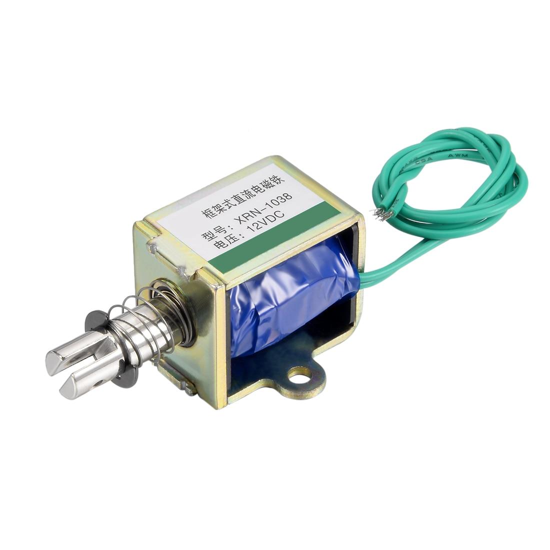 Uxcell XRN-1038 DC 12V 20N 10mm Pull Push Type Open Frame Solenoid Electromagnet