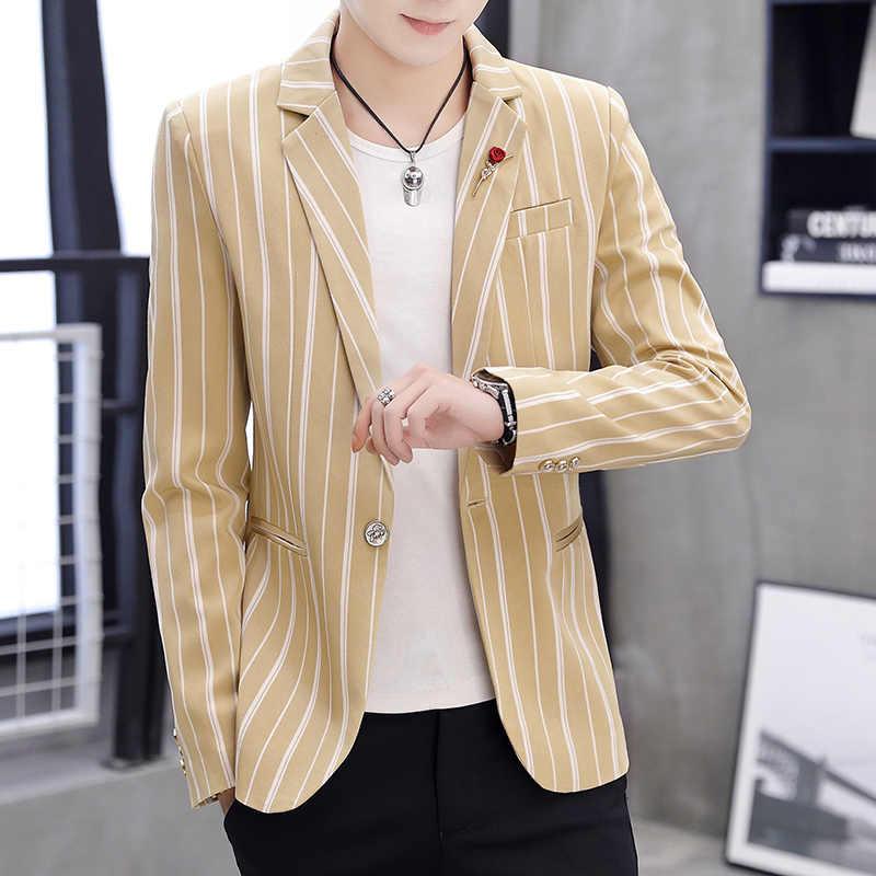 Novo 2019 dos homens de luxo fino ajuste blazer marca alta qualidade misturas algodão fino ajuste listra masculino terno terno masculino terno masculino
