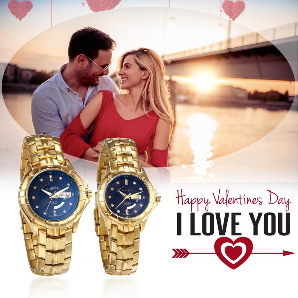 Lancardo Luxury Couple Watch Golden Fashion Stainless Steel Lovers Watch Quartz Wrist Watches For Women & Men Calendar Function