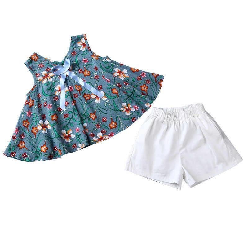 Roupas Estabelecidos Para As Meninas Crianças Roupas de Verão Terno Da Menina Floral Roupas Top Sem Mangas + shorts 2 Pcs Traje das Crianças 6 8 12 anos