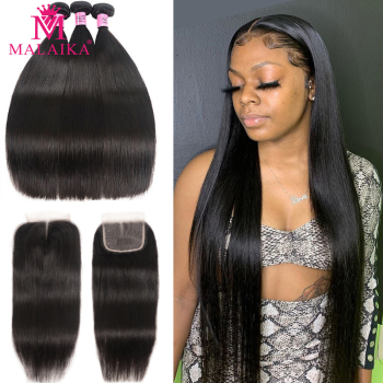 Malaika Straight Human Hair Bundles With Closure Peruvian Hair Bundles With Frontal Virgin Remy Hair Bundles Hair With Closure image
