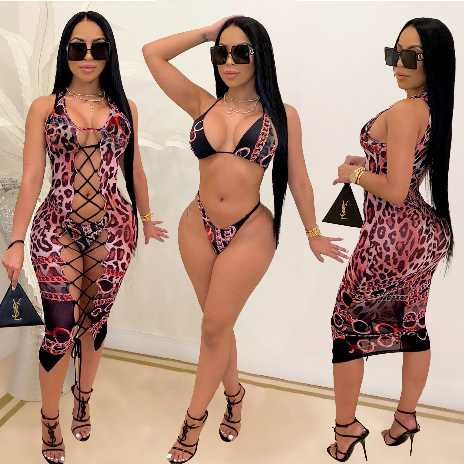 2021 Fashion Bikini Set And Matching Cover Dress Womens Sleeveless Hollow Out Laced Beach Dress 3 Pieces Outfits Beachwear S-XL 7