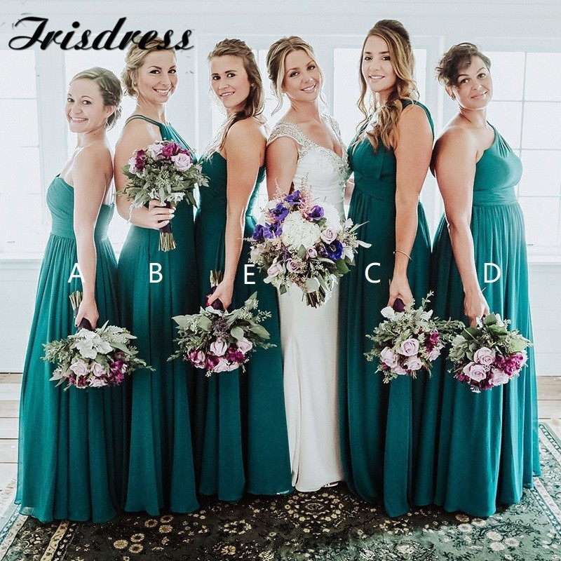Dark Green   Bridesmaid     Dresses   Long 2019 One Shoulder A Line Chiffon Wedding Party Gowns Wholesale Robe De Soiree Plus Size