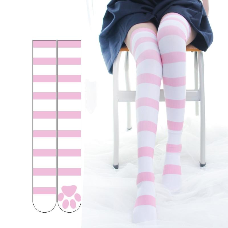 Cosplay Over Knee Socks Pink Strip Kawaii Cat Paw Print Stockings Lolita Gothic Velvet Overknee Thigh High Long Stockings