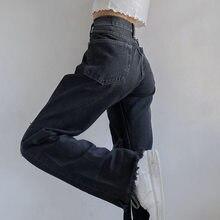 Pantalones de cintura alta con agujeros y bordes rugosos para mujer, Vaqueros rectos informales de estilo Hip Hop para invierno