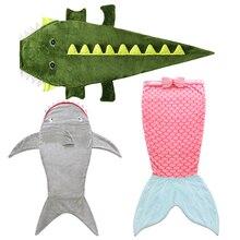 Детские спальные мешки Мультяшные акулы хвост русалки одеяло