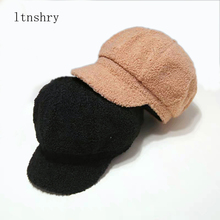 High Quality Ladys winter hat Solid color Berets Cashmere Casual Octagonal Hat Female Cap For Women Newsboy cap