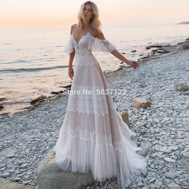 2021 Bohemian Wedding Dresses Tempting Nude Champagne V Neck Chic Sleeves Straps Ruffles Lace A Line Backless Bridal Gowns 4