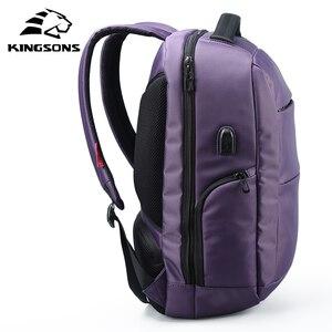 Image 2 - Kingsons рюкзак для ноутбука с внешней зарядкой и usb портом, Противоугонный, женский, деловой, дорожный, 15,6 дюйма, ks3282w