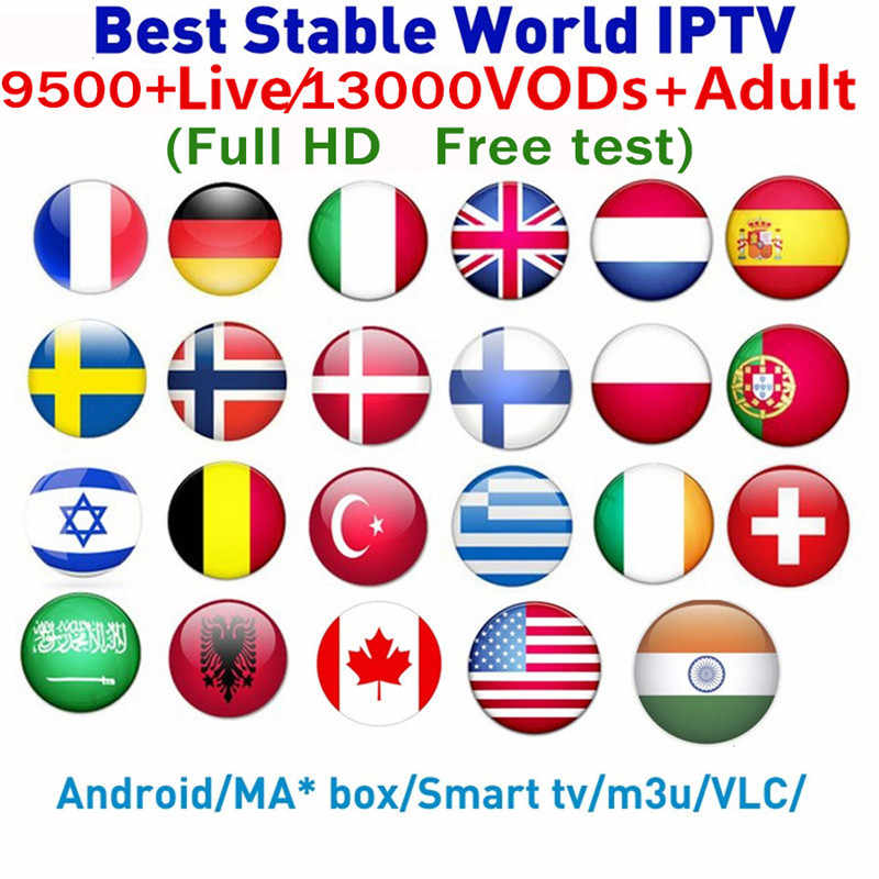 IPTV M3u Smarters For Smart Androd tv box 9500+ French Arabic UK Germany USA IPTV Subscription H265 m3u Enigmas2 Smart tv