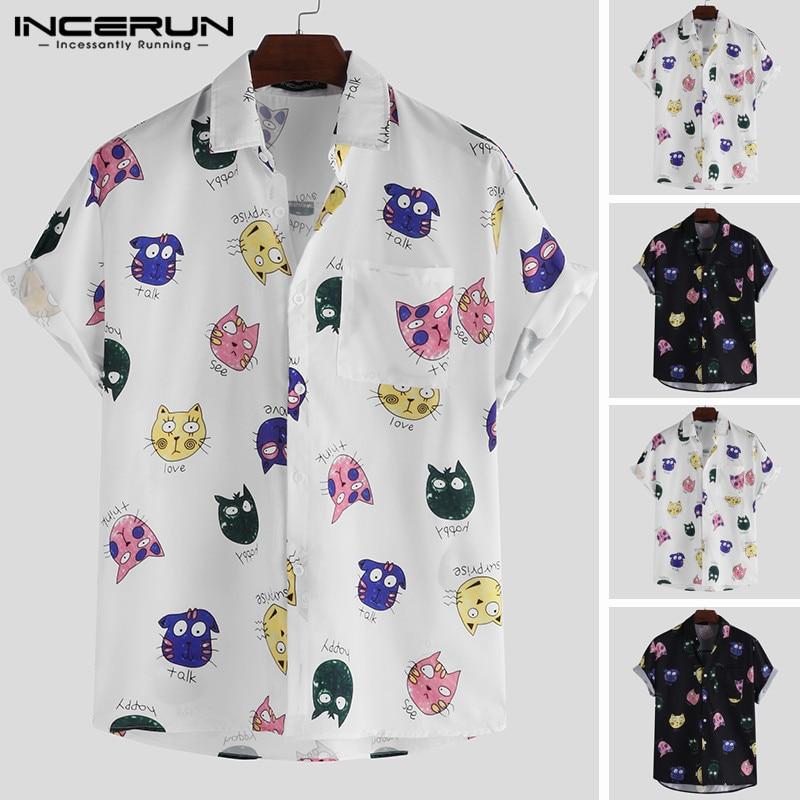 INCERUN Мужская рубашка с принтом из мультфильма с коротким рукавом Свободная Повседневная гавайская рубашка мужская летняя крутая модная ули...
