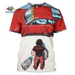 RWB samochód T-shirt mężczyźni 3D nadruk samochodu modyfikacji T shirt w stylu Casual, letnia kreskówki koszula z motywem Anime Fitness ponadgabarytowych odzież Hip hopowa Top