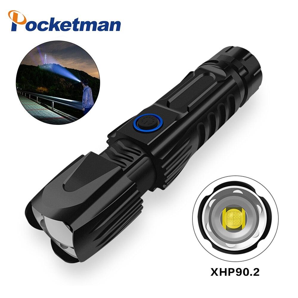Высокомощный светодиодный светильник XHP90.2 LM, тактический светильник вспышка, умный чип, водонепроницаемый фонарь с зумом, аккумулятор 26650 д