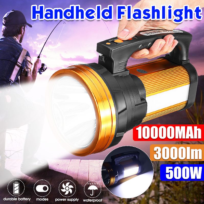 500w Super Bright Outdoor Handheld Portable USB Rechargeable Flashlight Torch Searchlight Multi-function Long Shots Lamp Hunting