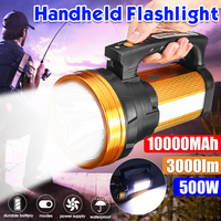 500w Super Bright Outdoor Handheld Portable USB Rechargeable Flashlight Torch Searchlight Multi function Long Shots Lamp Hunting