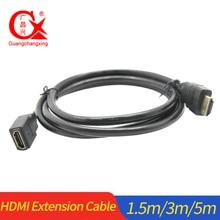 цена на HDMI Extension Cable Cord Male to Female 1.4v 1080P 60Hz 1.5m 3m 5 m for HD TV LCD Laptop PS3 Projector