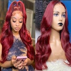 Амбиции темно-красный цвет Окаймленный парик из бразильских человеческих волос предварительно 13x4 Синтетические волосы на кружеве парики д...