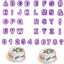 40 pçs/set Moldes Do Bolo Do Alfabeto Número Figura Carta de Plástico Cortador do Bolinho Molde Fondant Ferramentas de Decoração Do Bolo Molde de Cozimento