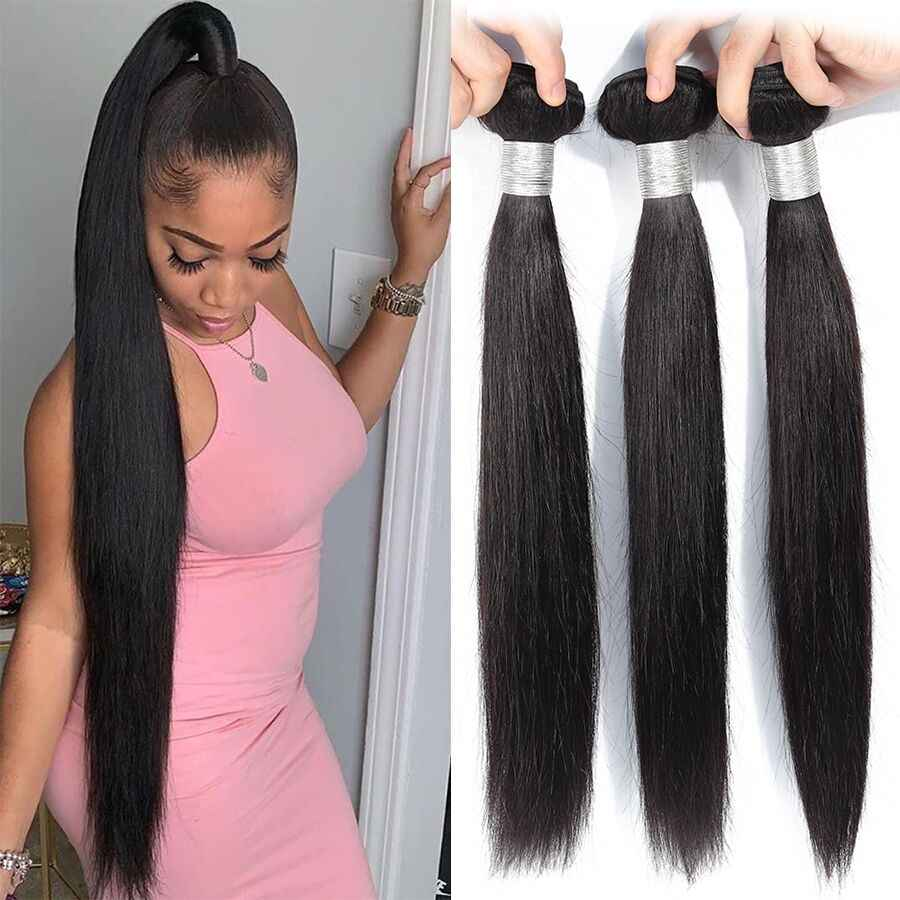 "Straight Hair Bundles Human Hair Bundles Brazilian Hair Weave Bundles Human Hair Weave Extensions 8"" To 30 Inch Remy Bundles"