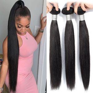 Image 1 - Straight Hair Bundles Human Hair Bundles Brazilian Hair Weave Bundles Human Hair Weave Extensions 8 To 30 Inch Non Remy Bundles