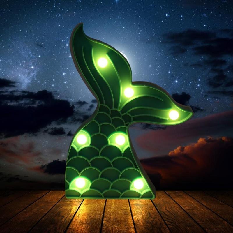 LED Night Light Indoor Wall Lamp Home Bedroom Decoration Mermaid Tail Light Dropshipping