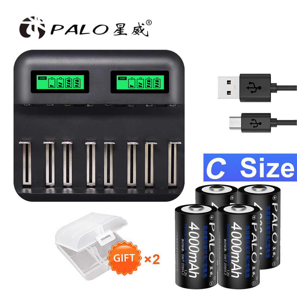 PALO Battery Charger Set LED Universal Individual AA AAA C D Battery Charger with 2-Pack C Cell 4000mAh Batteries and 2-Pack D Cell 8000mAh Batteries