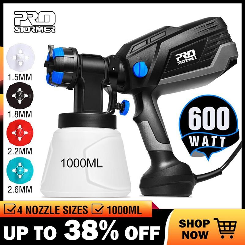 PROSTORMER HVLP Home Paint Sprayer 600W Electric Spray Gun 4 Nozzle Sizes 1000ml Flow Control Airbrush Easy Spraying