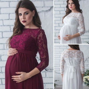 Goocheer Pregnant Mother Dress Maternity Photography Props Women Pregnancy Clothes Lace Dress For Pregnant Photo Shoot Clothing