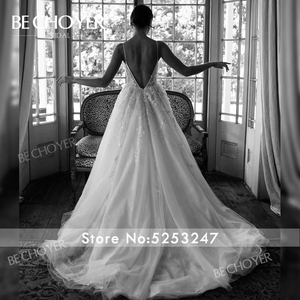 Image 5 - רומנטי אפליקציות חתונת שמלת BECHOYER HE09 אור תחרה 3D פרחי אונליין גב פתוח בית משפט רכבת הכלה שמלת Vestido דה Noiva