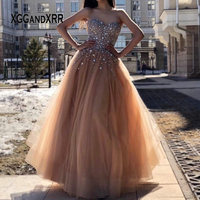 Luxury Heavy Beading Champagne Tulle Prom Dress 2020 Sweetheart Backless Sleeveless Floor Length Evening Dress Gala Party Gown