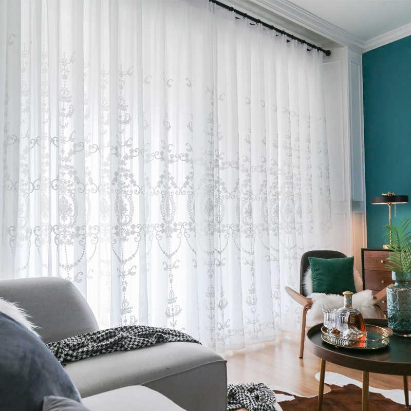 ENHAO Ricamato Tende di Tulle per Soggiorno camera Da Letto Cucina Bianco Floreale Voile Tende Trasparenti per la Finestra Tende di Lino