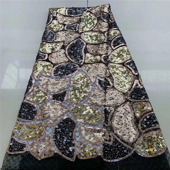 African Sequins Lace Fabric 2020 High Quqlity Lace French Tulle Mesh Laces Fabric Nigerian Sequence Lace Fabrics JYA50-1