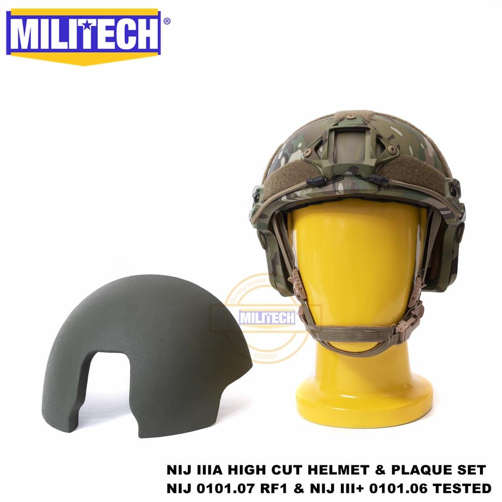 ISO Certified MILITECH NIJ III+ FAST MC 2 In 1 OCC Dial Liner High XP Cut Bulletproof Aramid Ballistic Helmet NIJ 0101.07 RF1