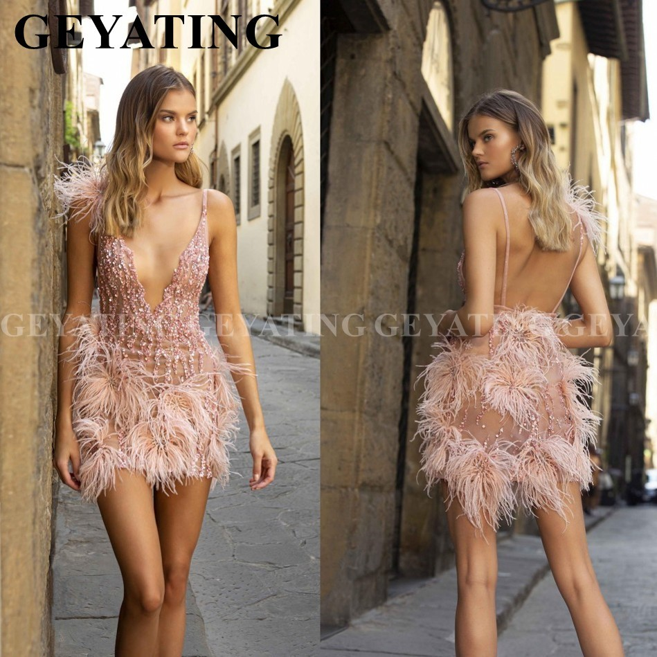 Sexy Deep V-Neck Backless Pink Feathers Cocktail Dresses Mini Short Evening Prom Dress 2020 Beads Formal Graduation Party Gowns