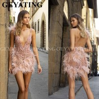 Sexy Deep V Neck Backless Pink Feathers Cocktail Dresses Mini Short Evening Prom Dress 2020 Beads Formal Graduation Party Gowns