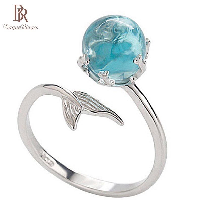 Bague Ringen 925 Silver Ring Blue Crystal Mermaid Bubble Open Rings For Women Wedding Birthday Gift Fashion High Qualtiy Jewelry