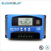 MPPT Solar şarj regülatörü çift USB LCD otomatik Solar hücre paneli şarj regülatörü MPPT 60A 30A 40A 50A 100A 12 V/ 24V otomatik uyum